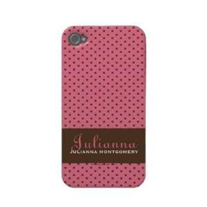Case Mate Pink Polka Dots Case mate Iphone 4 Cases: Cell Phones