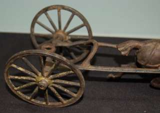 Vintage Cast Iron Horse Pulling 2 Wheel Cart Childrens Toy Measures 11