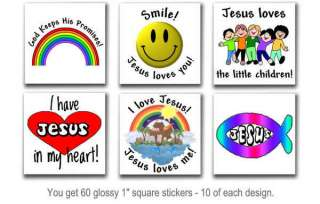 60 Christian stickers envelope seals scrap booking VBS