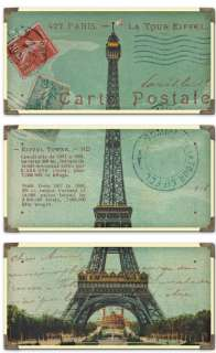 FRENCH S/3 Eiffel Tower WALL ART Decor Paris Postcard