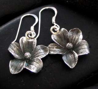 JJBZ ETCHED STERLING SILVER 925 FLOWER PETAL EARRINGS
