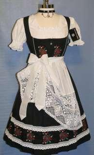 NEW ~ 3 Pc LONG BLACK German Party Swing LACE Skirt Oktoberfest DIRNDL