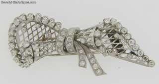 Antique Art Deco 58 Diamonds Platinum Brooch Clip