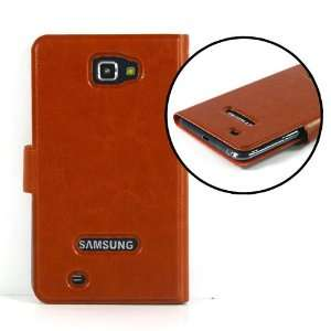 Brown / Leather case / Cover / Skin / for Samsung Galaxy Note