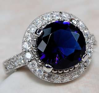 Sapphire & White Topaz 925 Solid Sterling Silver Ring Sz 7