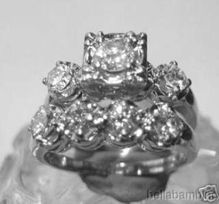 14K WHITE GOLD DIAMONDS ENGAGEMENT & WEDDING RING SET