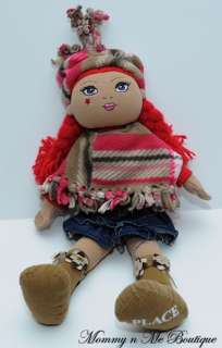 Childrens Place Red Hair Poncho Cloth Rag Doll Toy