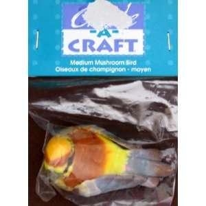 Bird Medium Mushroom Bird   Brown, Yellow & Grey Arts, Crafts