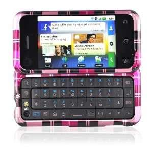 for Motorola Backflip Hard Case Cover PLAID PINK BROWN