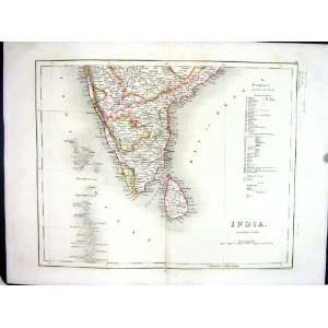 India Ceylon Mysore Bay Bengal Indian Ocean College Antique Map