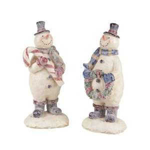 Pack of 4 Candy Crush Glittery Christmas Snowman Decorative Figures 11