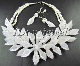Jade pearl crystal flower necklace/earring set VJ
