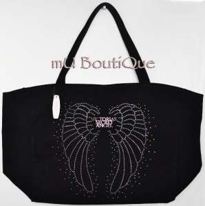 VICTORIA SECRET BLACK ANGEL WING RHINESTONE GLITTER STUD CANVAS TOTE