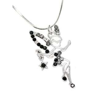 Dancing Fairy with Star Charm Necklace Silver Tone (Outline) Jewelry