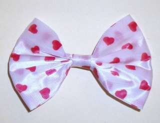 80S VINTAGE HAIR CLIP / BARRETTE   BOW W/ RED HEARTS