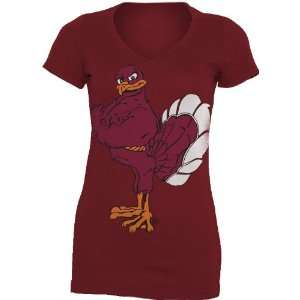 NCAA Virginia Tech Hokies Gigantor Ladies V Neck Tee Shirt