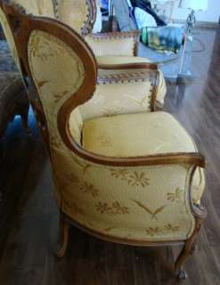 Pair Large French Provincial Wing Chairs Pecan Wood Living Room GREAT