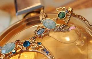 Mixed Charms Wing Colorful Rhinestone Blue Stone Moon Pendant Necklace