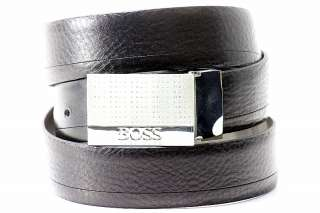 Hugo Boss Otano Mens Black Genuine Leather Adjustable Belt ST