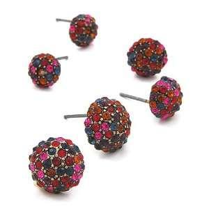 Tone Multi Color Rhinestone Three Piece Post Fashion Earrings Jewelry