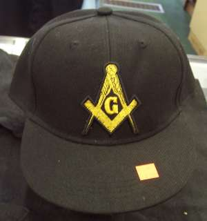 Prince Hall Mason Square and Compass Black Fitted Hat Various Sizes