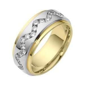 Karat Two Tone Gold Diamond SPINNING Comfort Fit Wedding Band Ring   6