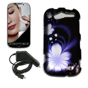 HTC MYTOUCH 4G BLUE LOTUS FLOWER CASE, RAPID CAR CHARGER