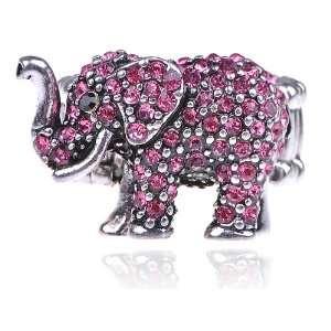 Pink Rose Rhinestone Crystal African Safari Playful Elephant Adj Ring