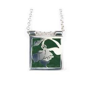 Silver Daffodil Stained Glass Necklace Forest Green