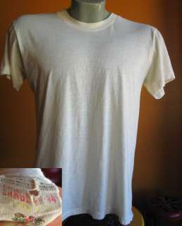 70s Mens FRUIT OF THE LOOM MESH THIN WHITE T shirt LARGE USA