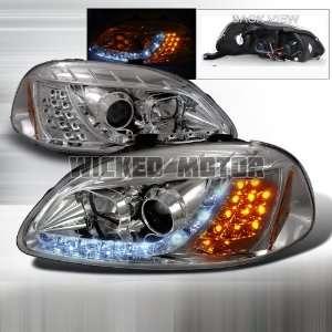 Headlights   Chrome Clear   Version 2   Amber LED Corner Automotive