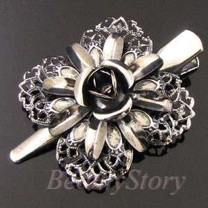 ADDL Item  antiqued metal hair clamp clip butterfly