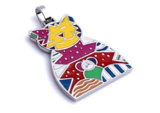 Stainless Steel Blending Colorful Cool Cat Ladies Art Pendant Necklace