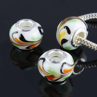 Bulk Murano Lampwork Glass Flower Dot European Charm Bead Fit Bracelet