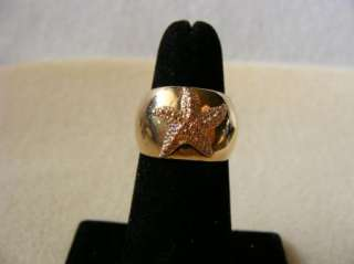 59 Adj Gold Tone Star Fish Ring Vintage Estate Jewelry