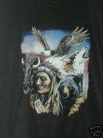 INDIAN,BEAR,WOLF,EAGLE BLACK NWOTS SWEATSHIRT 2XL