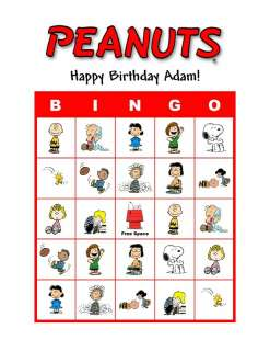 Peanuts Snoopy Birthday Party Game Bingo Cards