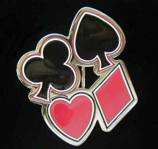 THE FOUR CARD SUITS BELT BUCKLE WITH RED AND BLACK The four card