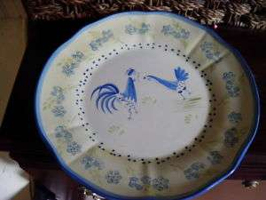 MSE MARTHA STEWART BLUE YELLOW DINNER PLATE ROOSTER