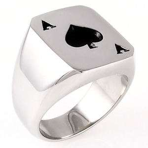 Ace of Spades 316L Stainless Steel Poker Luck Ring size 10