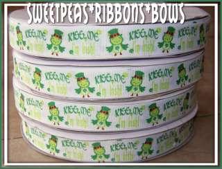 Patrick Shamrock Owls grosgrain ribbon 4 Bows 5 Kiss Me Im Irish