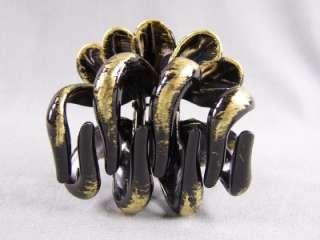 Bronze metallic black BIG round barrette octopus hair clip claw clamp