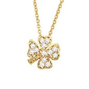 14k Yellow gold with White diamonds clover pendant necklace Jewelry