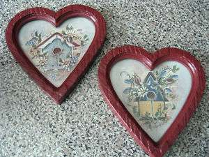 HOME INTERIORS Wall Plaques Pictures BIRDHOUSE hearts