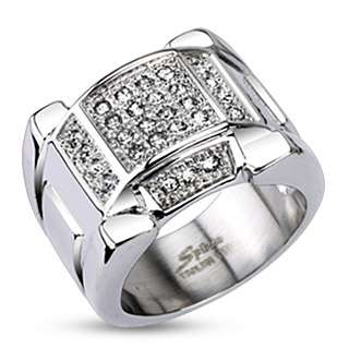 Spikes Stainless Steel Multi Pave 0.90 Carat CZ Ring Size 9 12