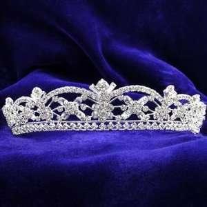 Silver and Crystal Scalloped Pattern Bridal Wedding Tiara