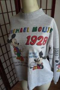 70 80s Vtg MICHAEL Mickey MOUSE 1928 Collector Sweatshirt Crew Neck