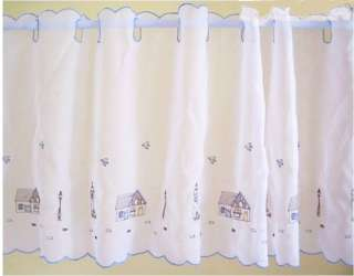 Lovely Fairy Cottage Embroidery Sheer Cafe Curtain