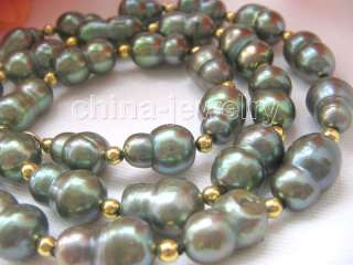 Beautiful 19 15mm green baroque FW pearl necklace
