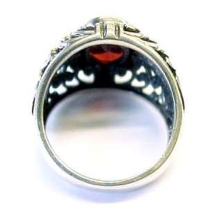 Red Garnet Solitaire / Sterling Silver Ornate Design Fashion Ring ~ i